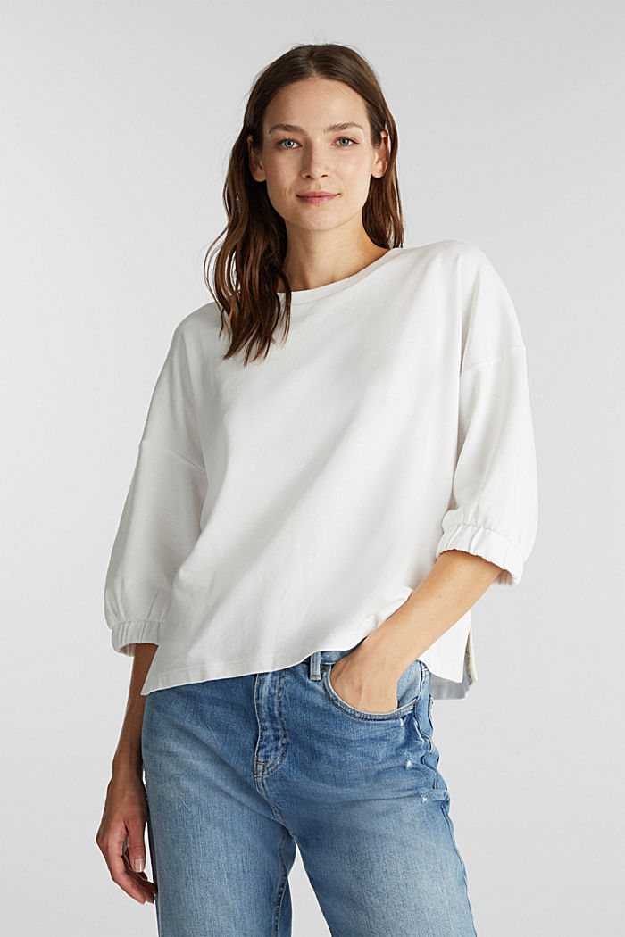 Short-sleeved sweatshirt in organic cotton