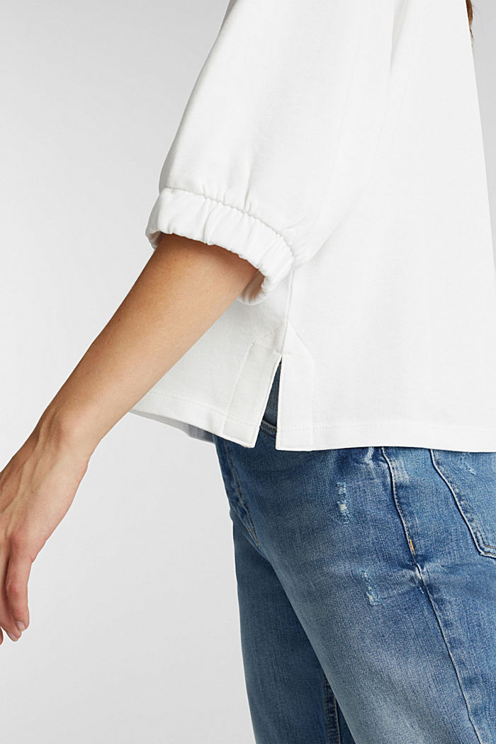 Short-sleeved sweatshirt in organic cotton, OFF WHITE, detail image number 2