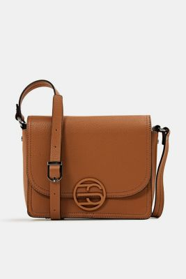 Faux leather shoulder bag, TOFFEE, detail