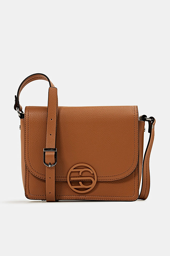 Faux leather shoulder bag, TOFFEE, overview