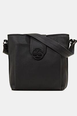 Faux leather shoulder bag, BLACK, detail