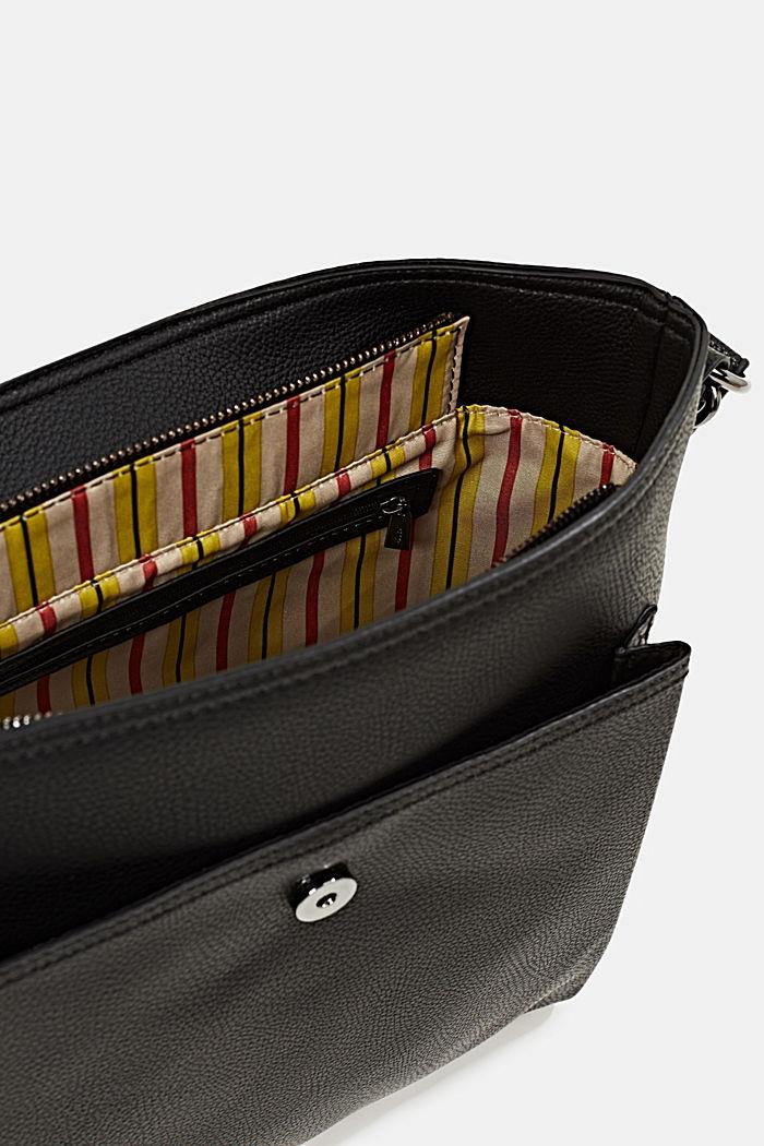Faux leather shoulder bag, BLACK, detail image number 4