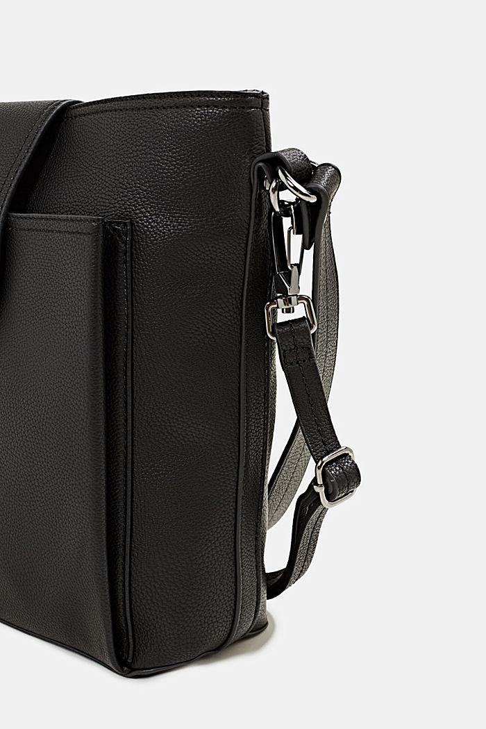Faux leather shoulder bag, BLACK, detail image number 3