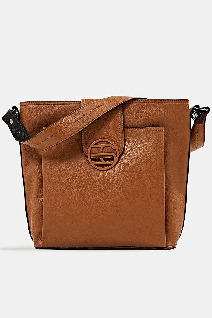 Faux leather shoulder bag, TOFFEE, detail image number 0