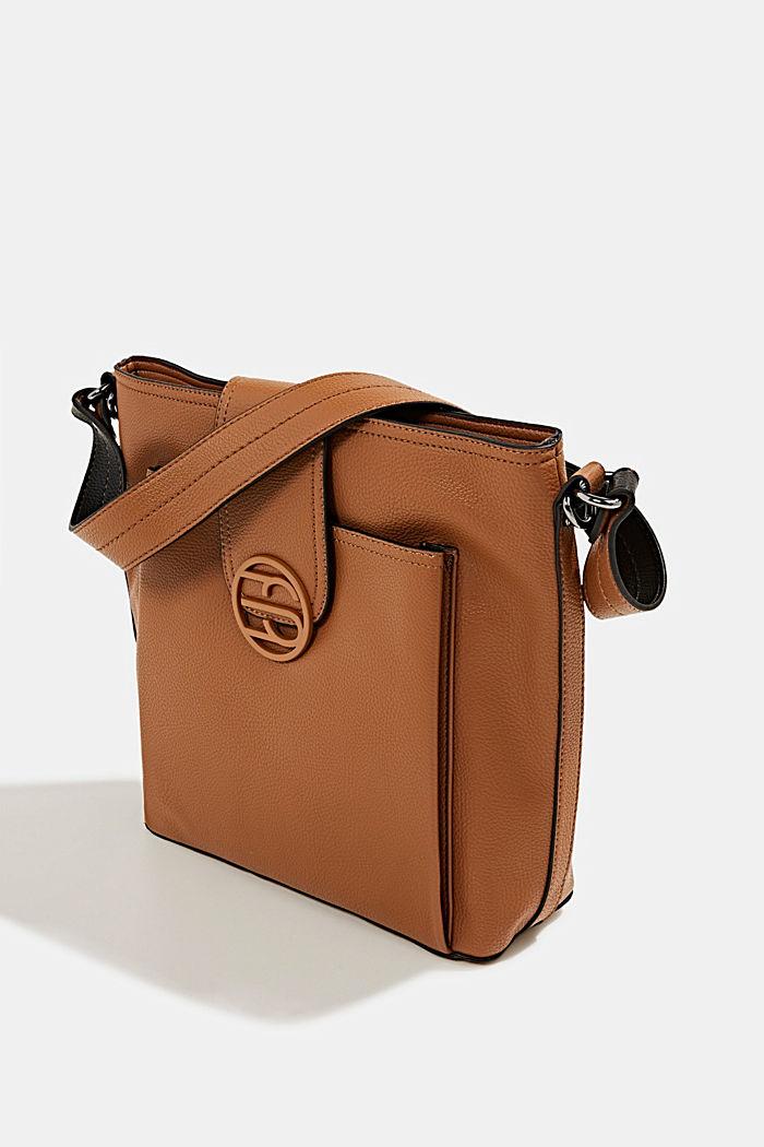Faux leather shoulder bag, TOFFEE, detail image number 2