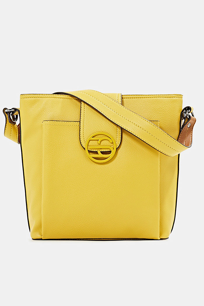 Faux leather shoulder bag, BRASS YELLOW, detail image number 0