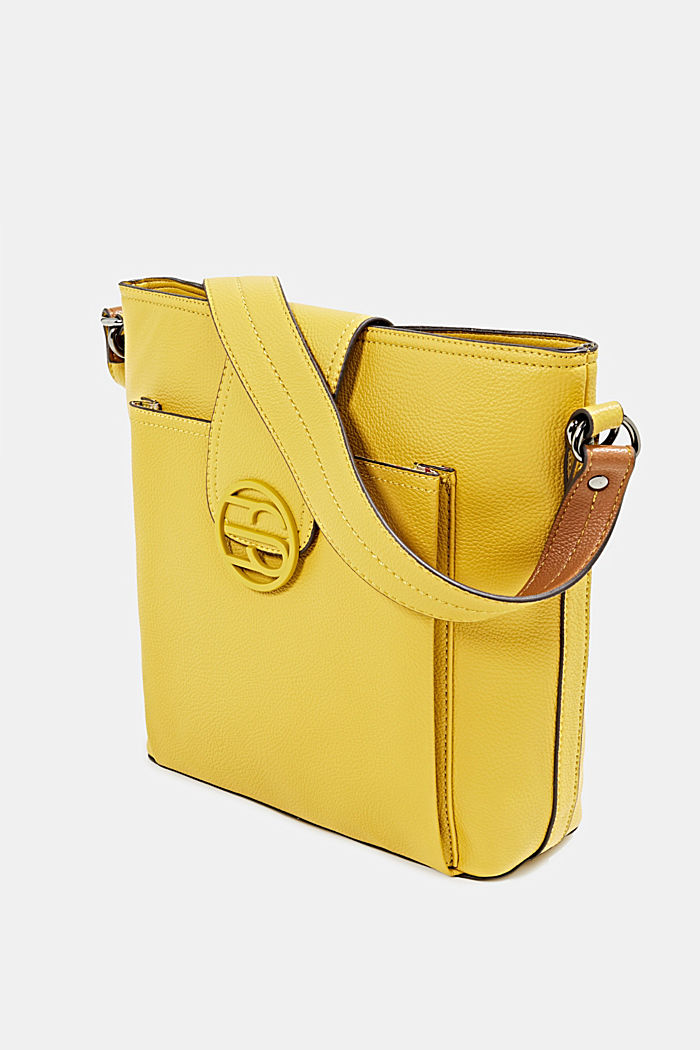 Faux leather shoulder bag, BRASS YELLOW, detail image number 2