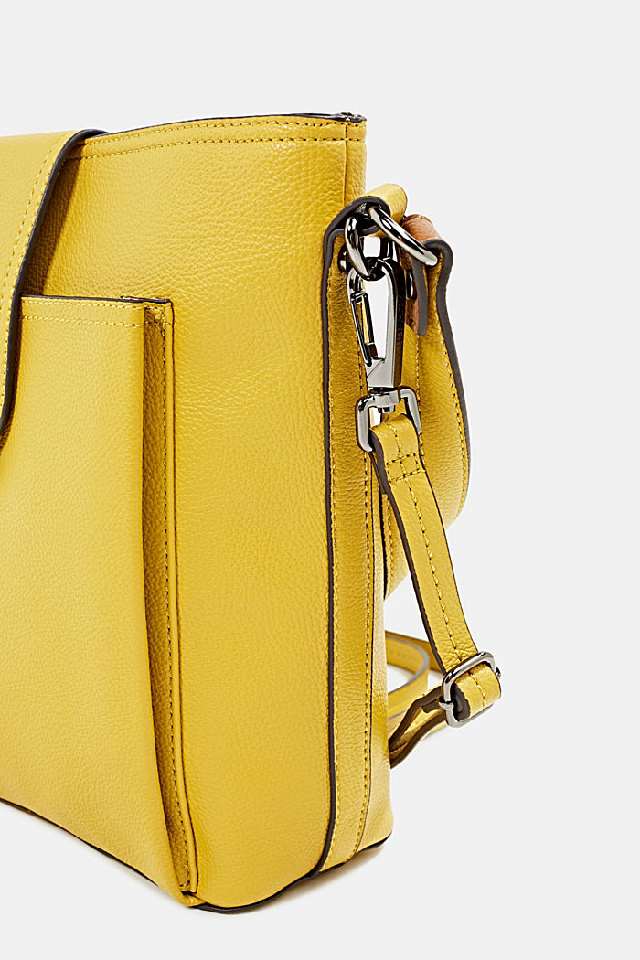Faux leather shoulder bag, BRASS YELLOW, detail image number 3