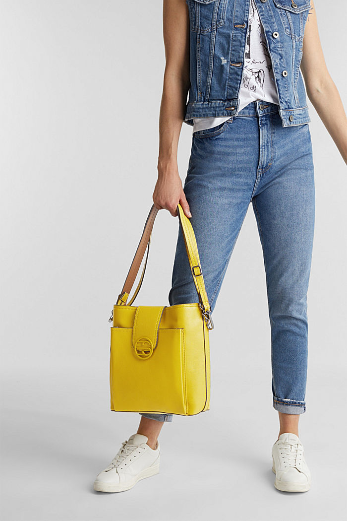 Faux leather shoulder bag, BRASS YELLOW, detail image number 1