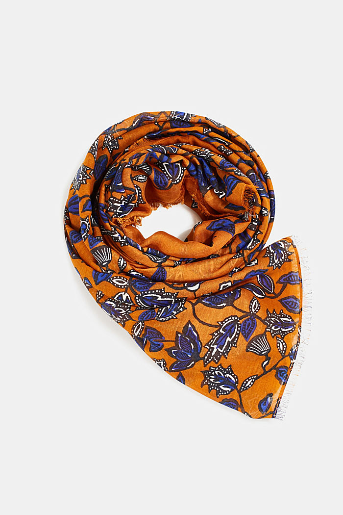 Scarf with floral print, RUST BROWN, detail image number 0