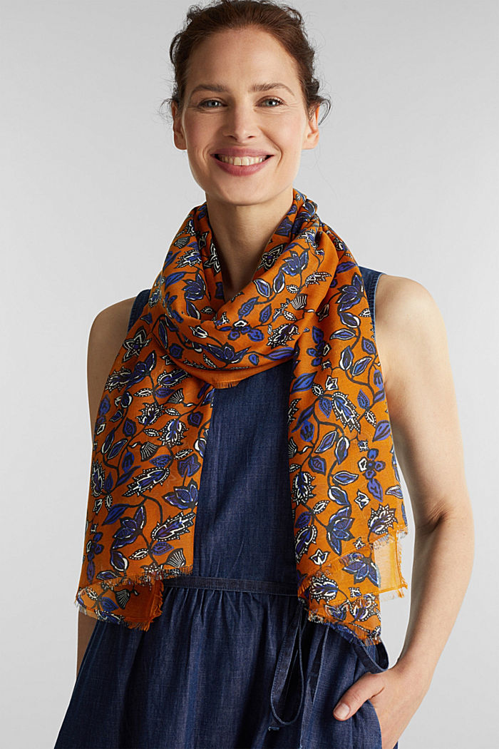 Scarf with floral print, RUST BROWN, detail image number 1