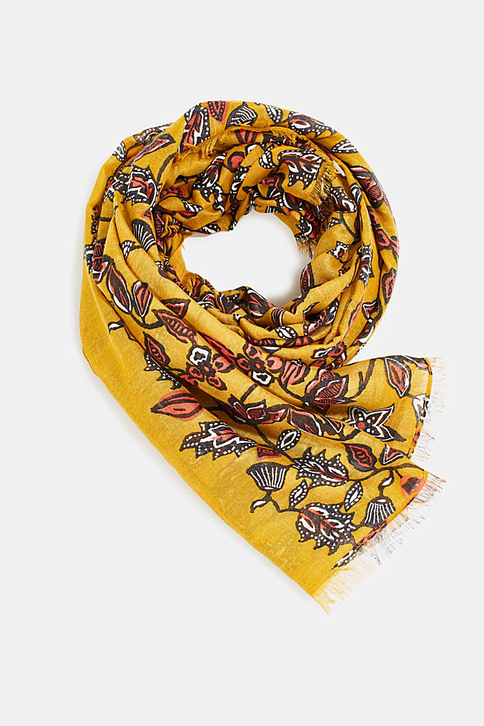 Scarf with floral print, YELLOW, detail image number 0