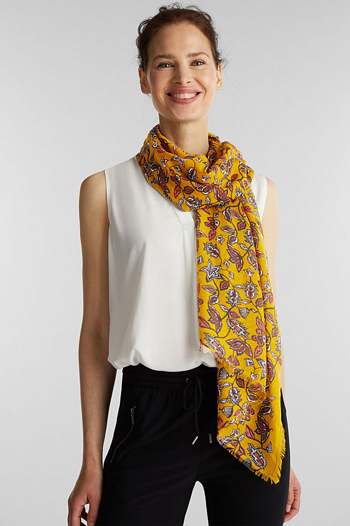 Scarf with floral print, YELLOW, detail image number 1