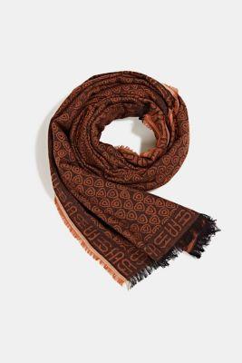 Jacquard scarf in 100% cotton, BLACK, detail