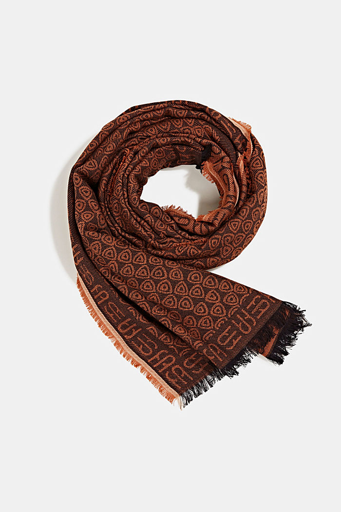 Jacquard-Schal aus 100% Baumwolle, BROWN, detail image number 0