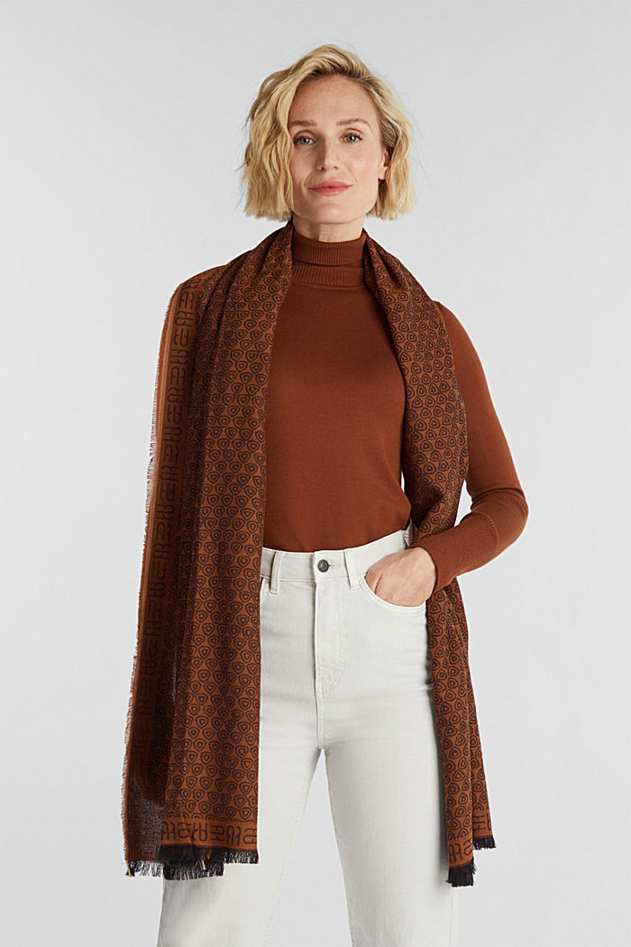 Jacquard-Schal aus 100% Baumwolle, BROWN, detail image number 1