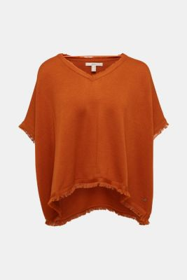 With wool: knit poncho, RUST BROWN, detail