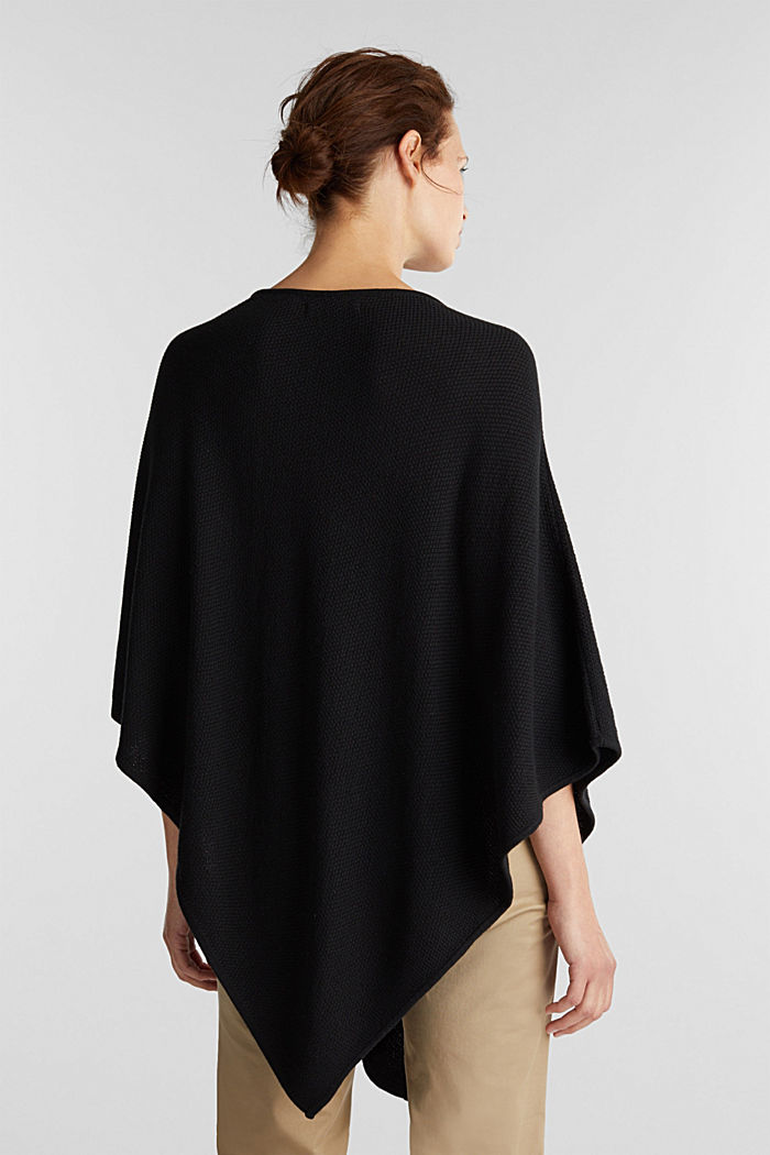 Textured knit poncho, BLACK, detail image number 3