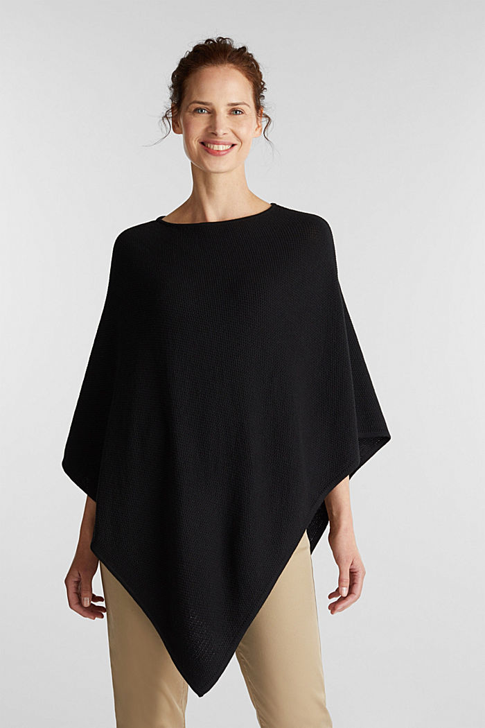 Textured knit poncho, BLACK, detail image number 1