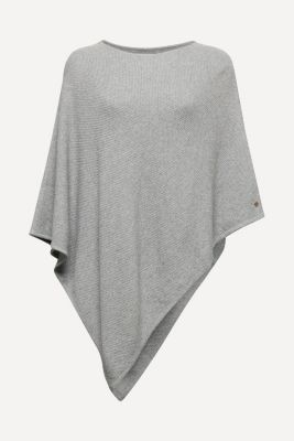Textured knit poncho, MEDIUM GREY, detail