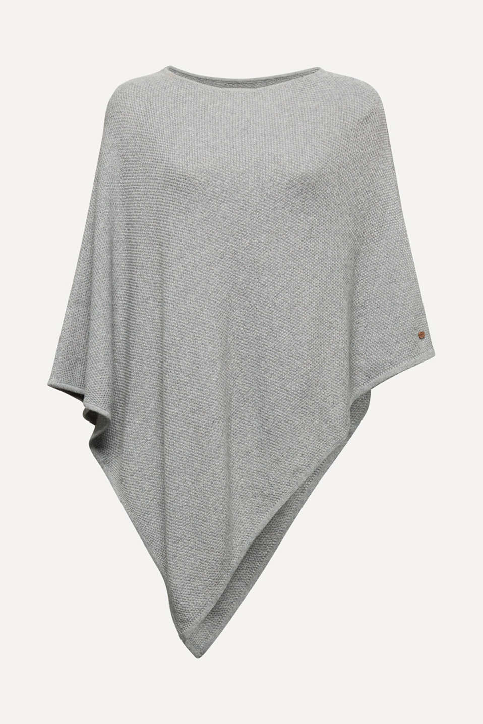 Textured knit poncho, MEDIUM GREY, detail image number 0