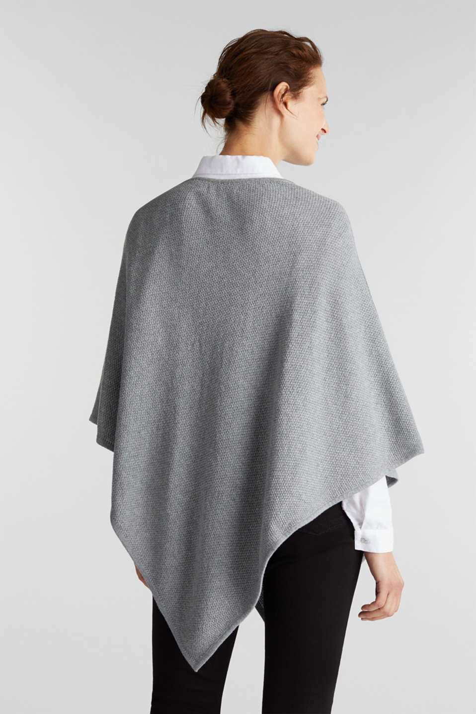 Textured knit poncho, MEDIUM GREY, detail image number 3