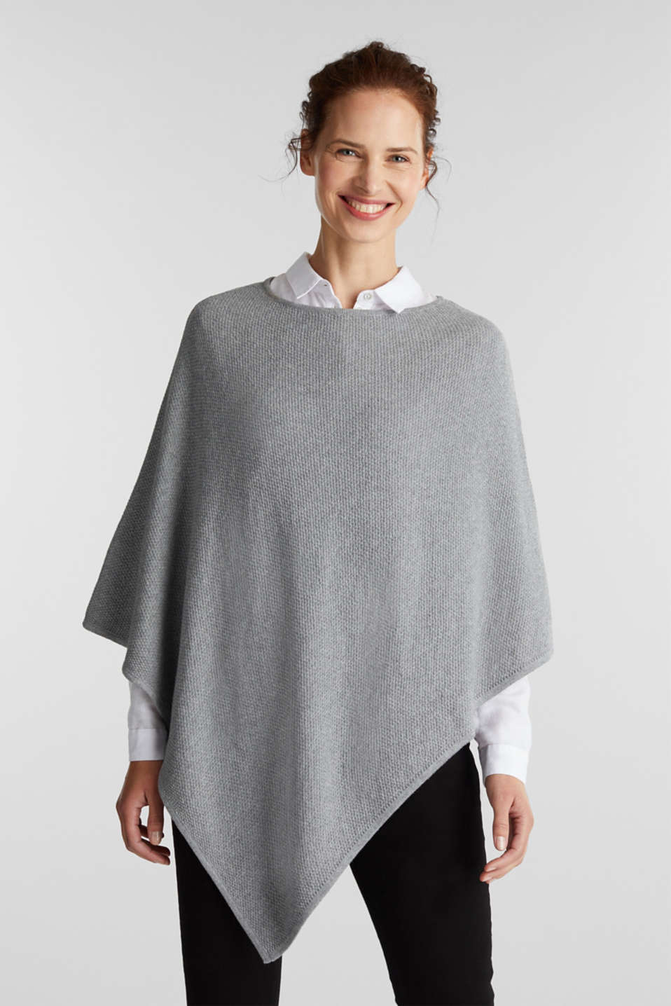 Textured knit poncho, MEDIUM GREY, detail image number 1