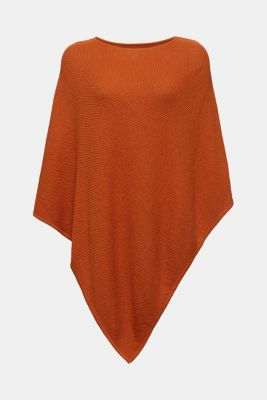 Textured knit poncho, RUST BROWN, detail