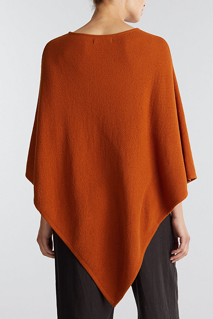 Textured knit poncho, RUST BROWN, detail image number 3