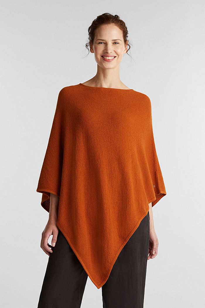 Textured knit poncho, RUST BROWN, detail image number 1