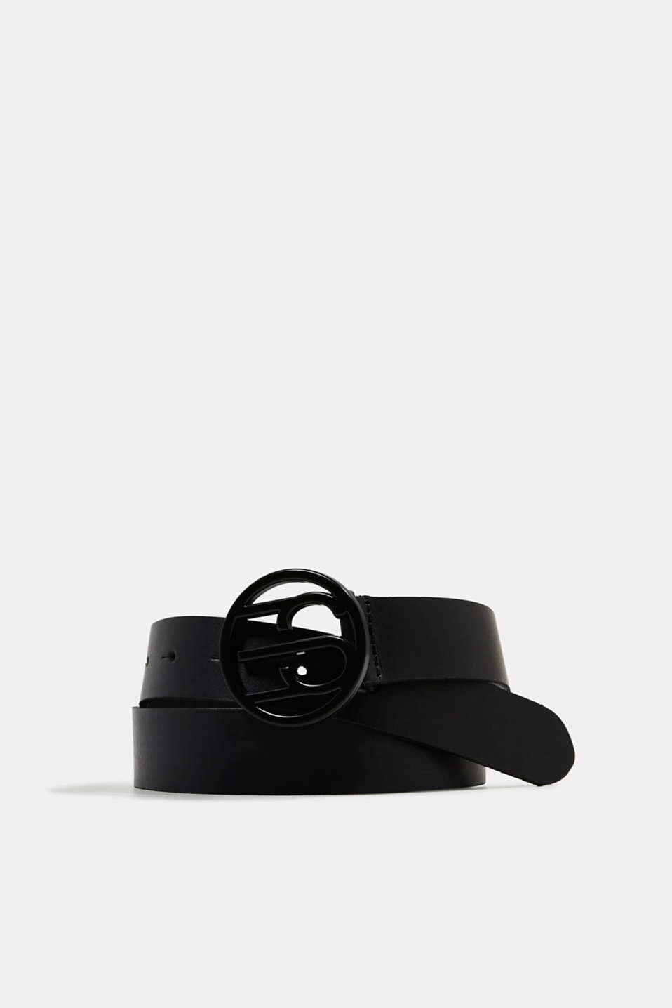 Made of leather: belt with logo buckle, BLACK, detail image number 0
