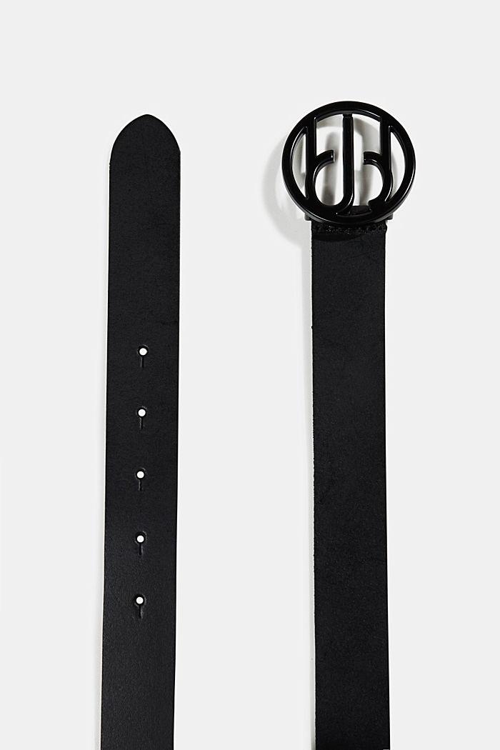 Aus Leder: Gürtel mit Logo-Schließe, BLACK, detail image number 1