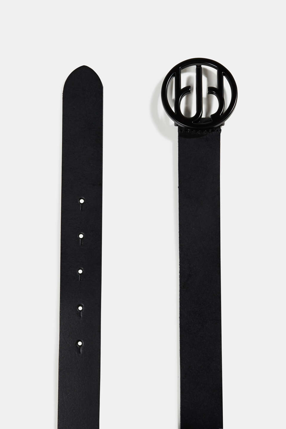 Made of leather: belt with logo buckle, BLACK, detail image number 1