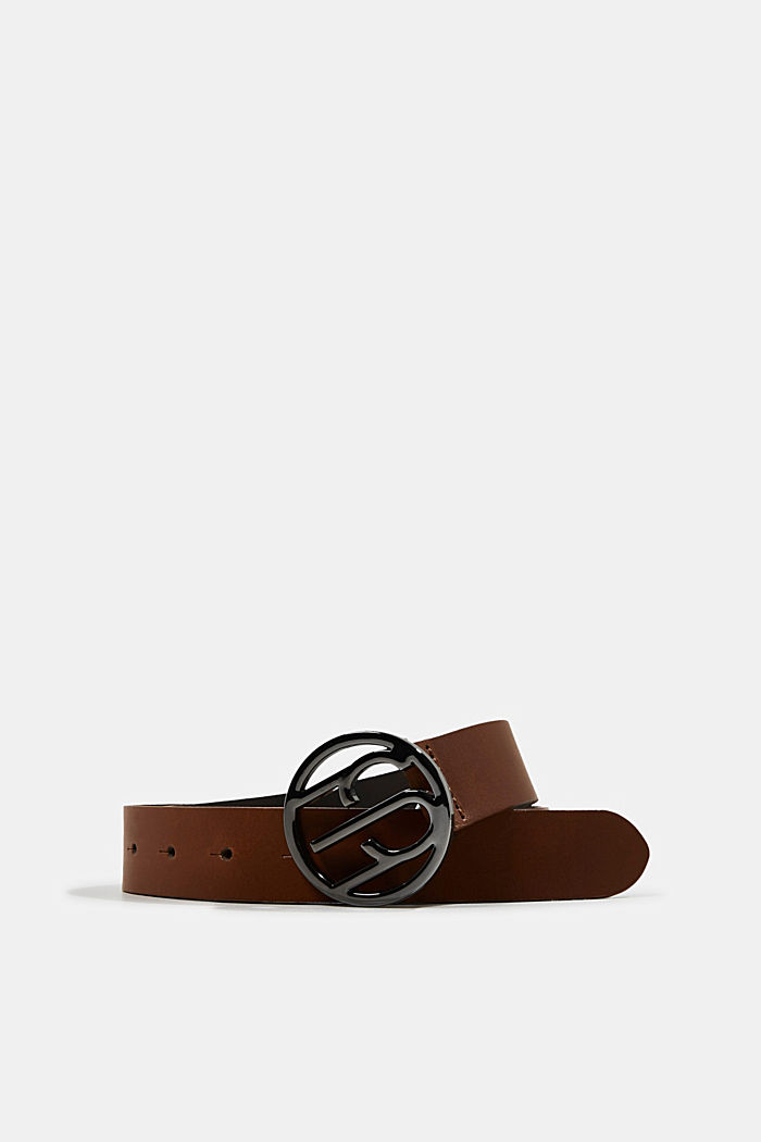 Made of leather: belt with logo buckle, TOFFEE, overview