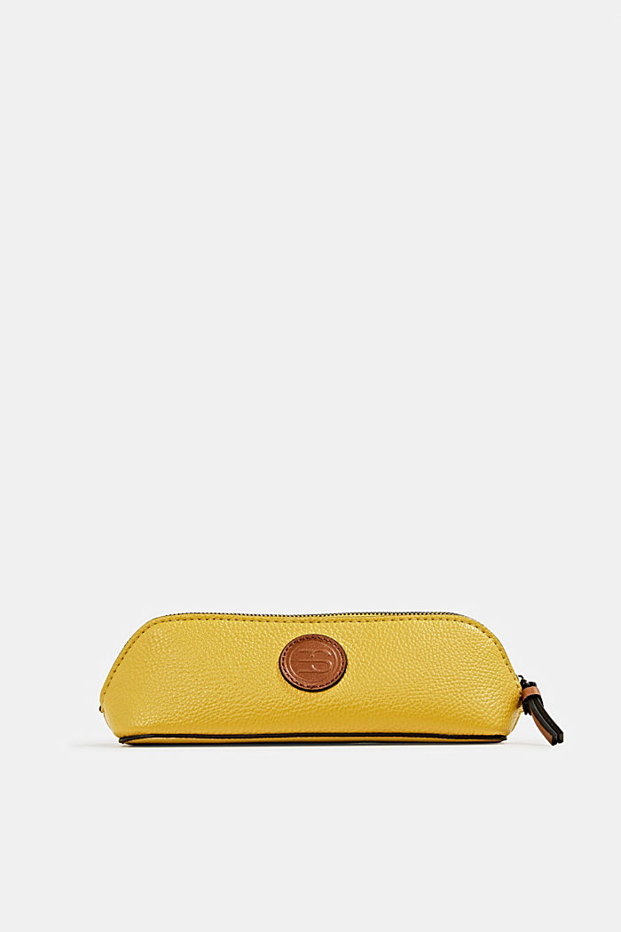 Faux leather make-up bag, BRASS YELLOW, detail image number 0