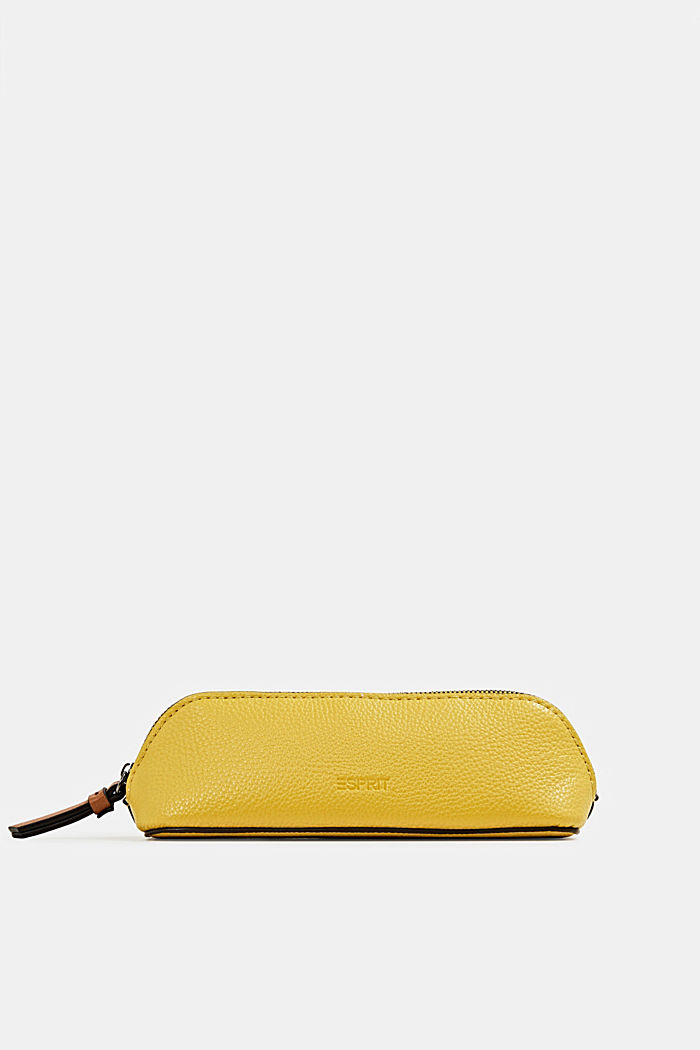 Faux leather make-up bag, BRASS YELLOW, detail image number 2