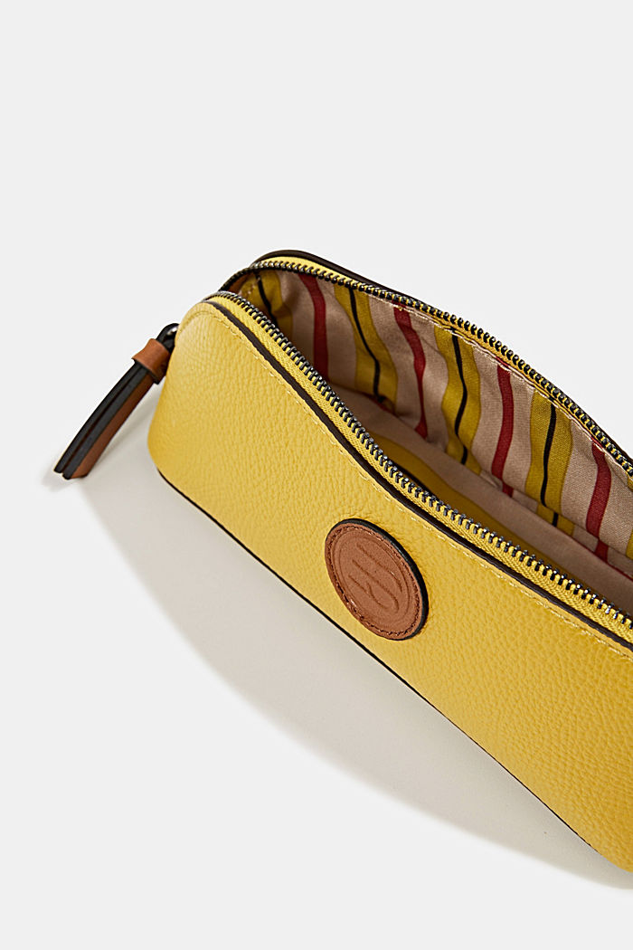 Faux leather make-up bag, BRASS YELLOW, detail image number 3