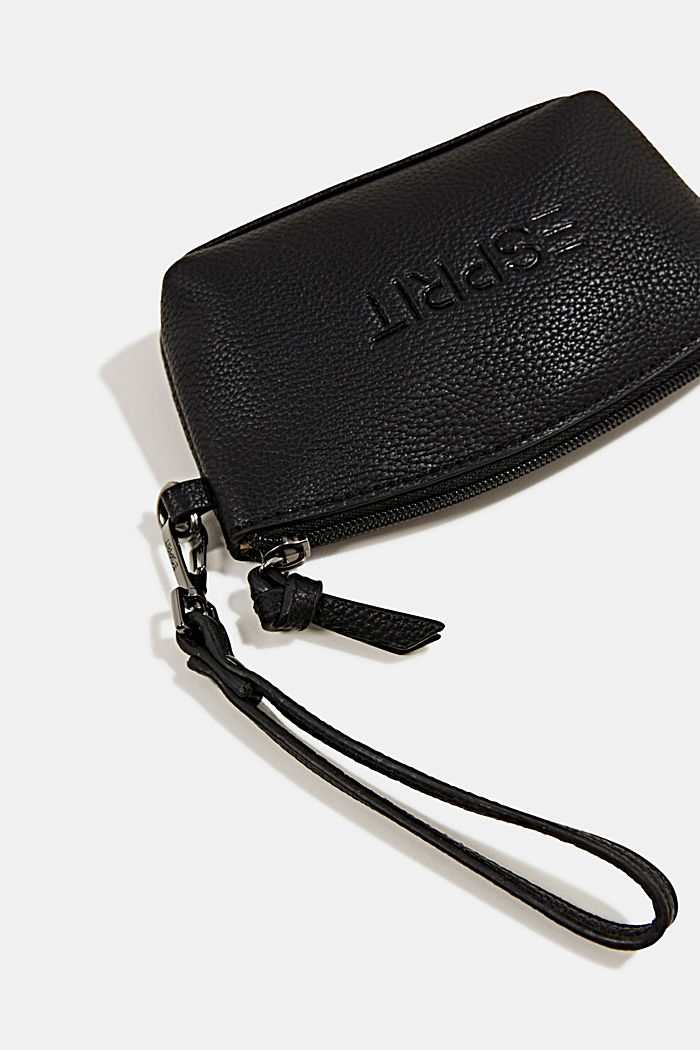 Small, faux leather make-up bag