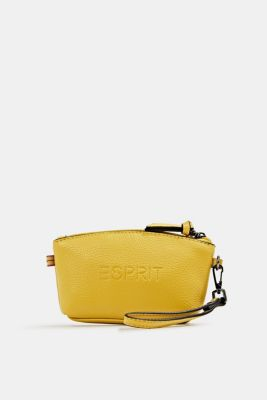 Small, faux leather make-up bag, YELLOW, detail