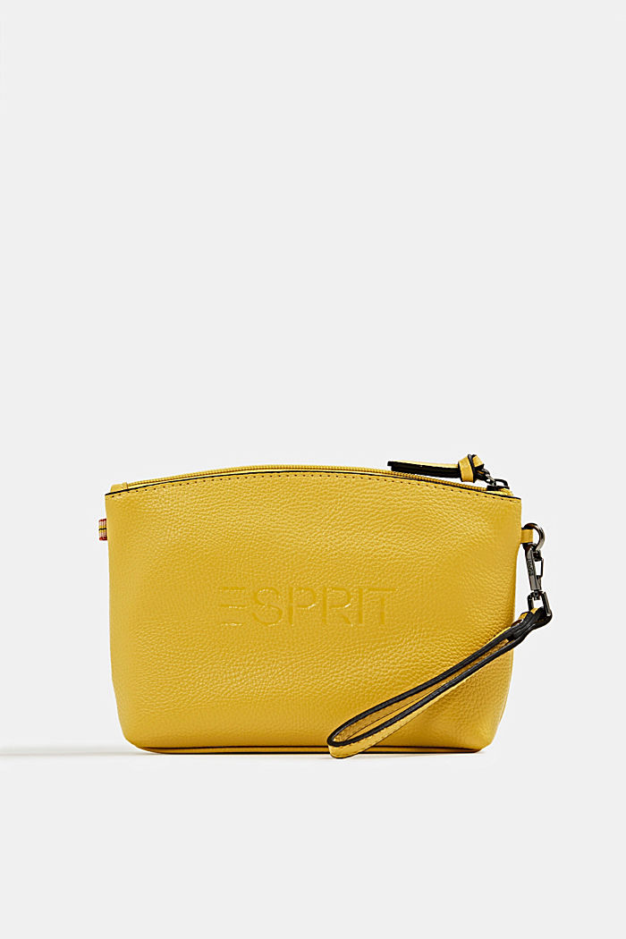 Faux leather make-up bag, YELLOW, detail image number 0