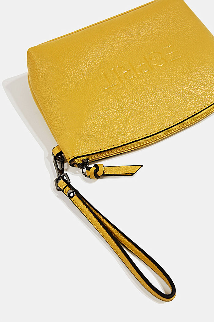 Faux leather make-up bag, YELLOW, detail image number 1