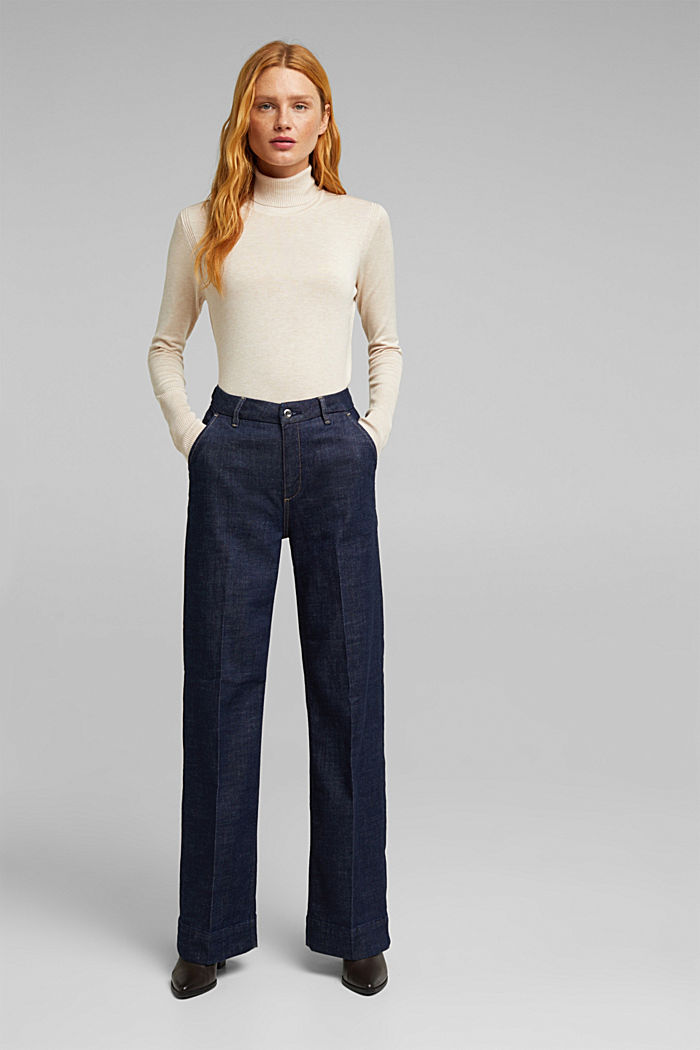 Wide-leg jeans containing organic cotton, BLUE RINSE, detail image number 1