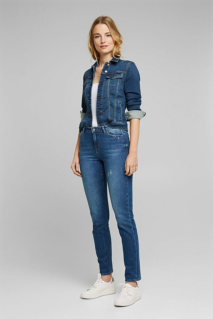 Stretch-Jeans mit Organic Cotton, BLUE DARK WASHED, detail image number 1