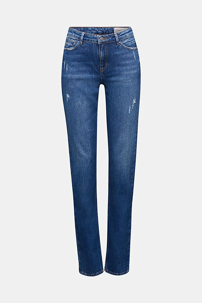 Stretch-Jeans mit Organic Cotton, BLUE DARK WASHED, overview