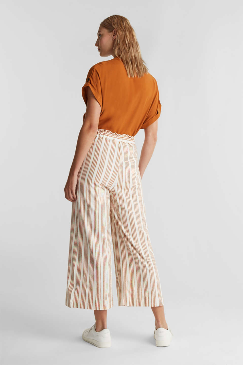 Culottes made of organic cotton with linen, RUST BROWN, detail image number 3