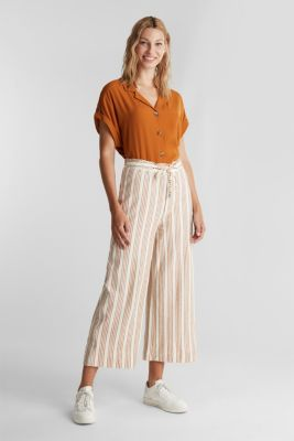 Culottes made of organic cotton with linen, RUST BROWN, detail