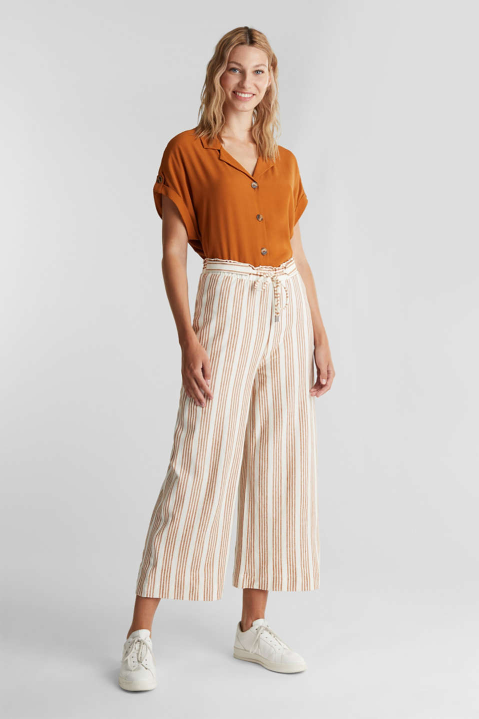 Culottes made of organic cotton with linen, RUST BROWN, detail image number 1