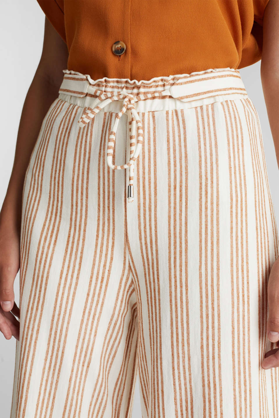 Culottes made of organic cotton with linen, RUST BROWN, detail image number 2