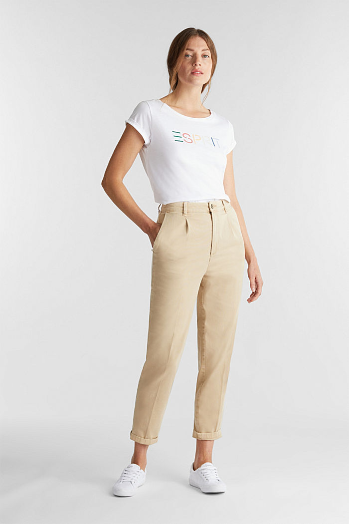 Chinos with organic cotton, BEIGE, detail image number 1