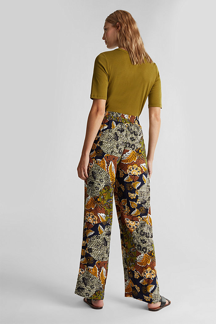 Wide-leg trousers with print, OLIVE, detail image number 3